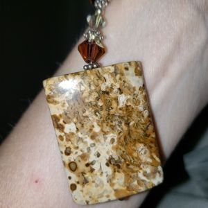 Vtg Agate Sterling Necklace with Beads